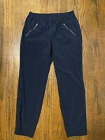 ATHLETA PANTS ASPIRE ANKLE CINCH ZIP POCKETS JOGGER STRETCH NAVY BLUE SIZE 8