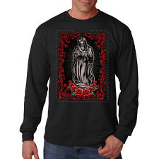 Virgin Maria Red Roses Religion Faith Long Sleeve T-Shirt