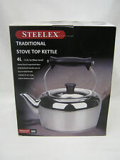 New Steelus Traditional Style Stainless Steel Stove Kettle Aga Induction Hob 4Lt