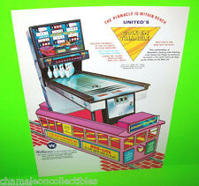 GOLDEN TRIANGLE By UNITED 1973 ORIGINAL ARCADE GAME SHUFFLE ALLEY BOWLING FLYER