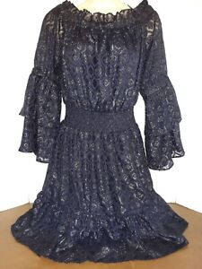 New Lucky Brand Off Shoulder Metallic Shimmer Tiered Dress Navy Blue Medium NWT