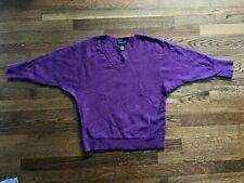 Womens Sweater Purple V Neck 3/4 Sleeves Nylon Angora Blend Medium