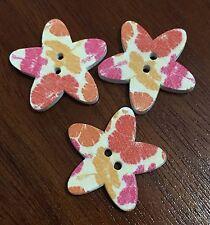 20 X Autumn Patterned Star Wooden Buttons - Australian Supplier