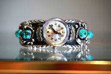 MARIE DALE NATIVE AMERICAN SILVER TURQUOISE CUFF BRACELET WATCH BAND