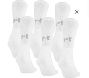 New Under Armour Youth Boys Charged Cotton Training Crew Socks 6PK-Free Shipping