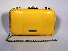 Rebecca Minkoff yellow snake leather Vincent Minaudiere clutch shoulder bag nwt