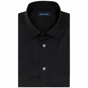 NAUTICA Men's Solid Classic-fit Stretch Easy-care Formal Dress Shirt 15.5 TEDO