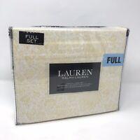 Lauren Ralph Lauren FULL Sheet Set Yellow Flowers White Sheets 100% Cotton