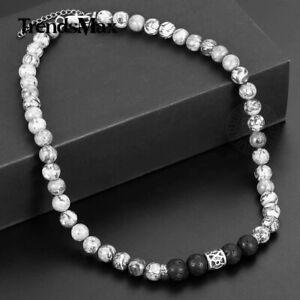 "8mm 18"" Natural Grey Jasper Map Stone Black Lava Beads Necklace Choker Mens Gift"