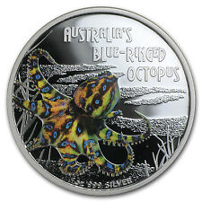 2008 Tuvalu 1 oz Silver Blue Ringed Octopus Proof - SKU #41534