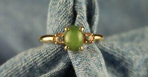 "Vintage 1974 Avon ""Oriental Jade"" w/ Crystal Rhinestones Ring Approximate Size 4"