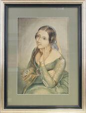 8363031 Aquarell signiert Walter Köster 1938 Junge Frau im Kleid