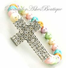 Soft Lavender Pink Pastel Rainbow Faux Pearl Pave Crystal Cross Stretch Bracelet