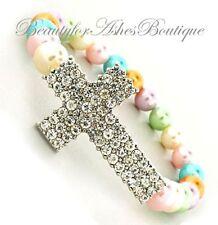Lavender Pink Pastel Rainbow Faux Pearl Pave Crystal Cross Stretch Bracelet