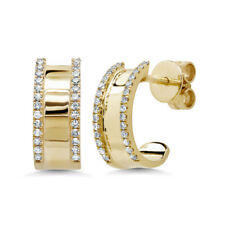 0.16 CT 14K Yellow Gold Natural Round Cut Real Diamond Cuff Stud Drop Earrings
