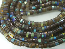 """Natural LABRADORITE Faceted Step Cut Round Tyre Beads 4-5mm Size Full 13"""""""