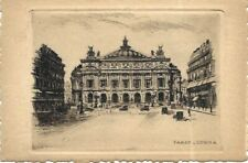 Antique Etching Leopold Robin Signed Postcard Paris Opera