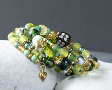 Handmade Boho Style Green and Gold Beaded Wrap Memory Wire Bracelet
