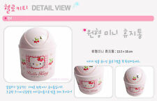 Plastic Waste Basket w/ Hello Kitty Character Trash Bin Garbage Can Made inKorea
