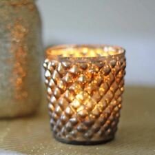 1 x Quilted Glass Bronze Tea Light Holder / Candle Holder | Wedding Decorations