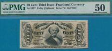 """FR.1327 .50 CENT  THIRD ISSUE  LETTER """"A""""  FRACTIONAL PMG AU50"""