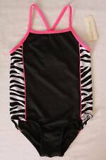 NEW Girls One Piece Swimsuit 4 - 5 XS Bathing Suit Black Pink Zebra Pool Beach