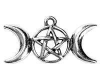 Triple Moon Pentagram Goddess Pendant Charm Silver Bracelet Pendant Bulk Lot