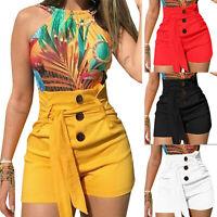 Womens Lace Up High Waist Shorts Hot Pants Summer Beach Mini Trousers Plus Size
