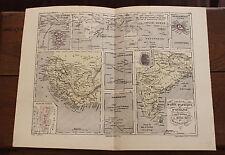 1850 Carte Géographique Atlas époque couleur Réunion Mayotte St Louis Marquises