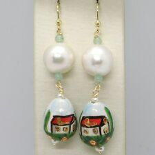 18K YELLOW GOLD EARRINGS AVENTURINE & CERAMIC DROP HOME HAND PAINTED IN ITALY