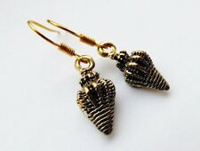 Black Conch Shell Earrings. Gold plated. Beach, holiday, festival, seashore