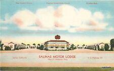 1940s Salinas Motor Lodge Roadside California linen MWM postcard 7374