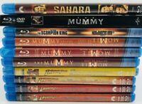 Lot of 10 Blu-ray Action Movies - Indiana Jones The Mummy Scorpion King Sahara