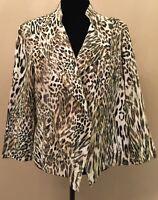 Chico's Womens Moto Jacket Sz 2 White Animal Print 100% Linen V-Neck Long Sleeve
