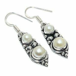 "Milky River Pearl Gemstone Handmade 925 Sterling Silver Earring 1.77 """