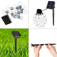 10 SOLAR OUTDOOR HANGING STRING BULB LED FAIRY LIGHTS GARDEN PARTY WHITE BRIGHT