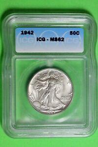 1942 ICG MS62 Walking Liberty Half Dollar #B26664