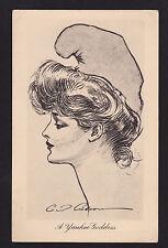 c1910 artist signed Gibson Girls Yankee Goddess glamour postcard