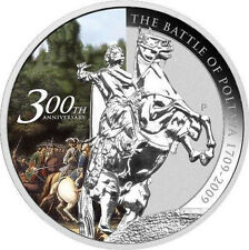 2009 Tuvalu Large Silver Proof color $1 Poltava Battle-Russia's Peter the Great