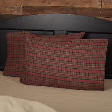 VHC Rustic Standard Pillow Case Set of 2 Bedding Tartan Red Plaid Cotton