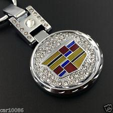 2018 Car Key Chain Metal double side logo crystal Keychain Key Ring for Cadillac