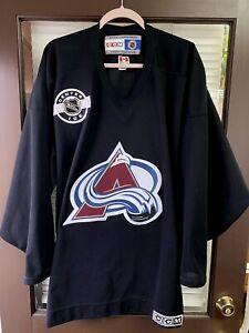 Vintage 90's CCM Colorado Avalanche BLACK NHL Hockey Jersey Kit Center Ice