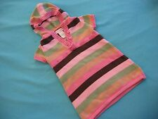 Infant Baby Gril Short Sleeve Puller Hoodie Tunic Sweater Striped Pink Brown 18M