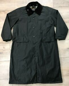 Men's BARBOUR BURGHLEY Green Long Waxed Cotton Coat Size XL/XXL Casual