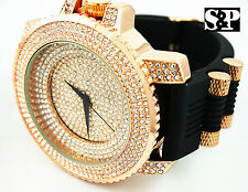Men Luxury Hip Hop Iced Out Rose Gold PT Micro Pave Rapper's Rubber Band Watch