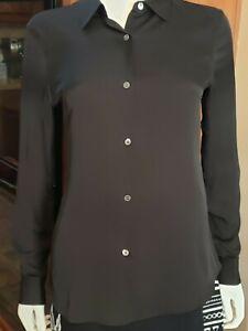 Theory Women's Tenia Silk Blouse, Black, Petite