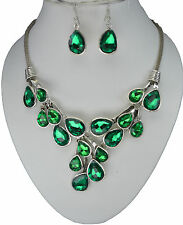 RF Green Crystal Vintage Silver Chain Statement Necklace Earrings Set