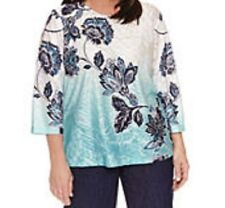 Alfred Dunner shirt size Medium M Teal Green, Navy Blue paisley floral print