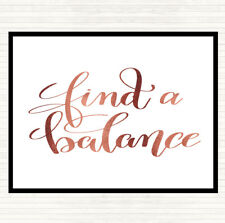 Rose Gold Find A Balance Quote Dinner Table Placemat