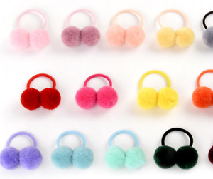 """14pcs/lot 1.4"""" Small Solid Double Fur Ball With Elastic Rope Handmade Hair Ba"""